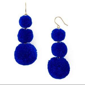 NWT Baublebar Blue Pompom Statement Earrings